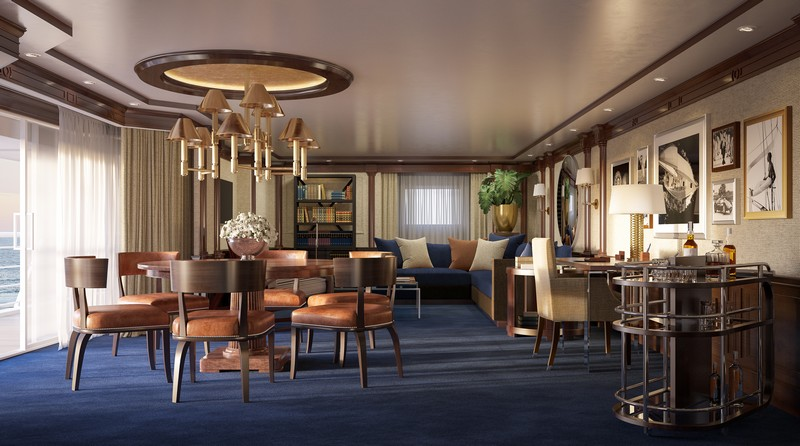 The Living Room in the re-designed Owner's Suite onboard Marina and Riviera-