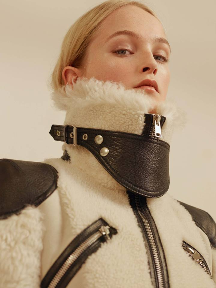 The McQueen shearling biker coat for Pre AW2017-