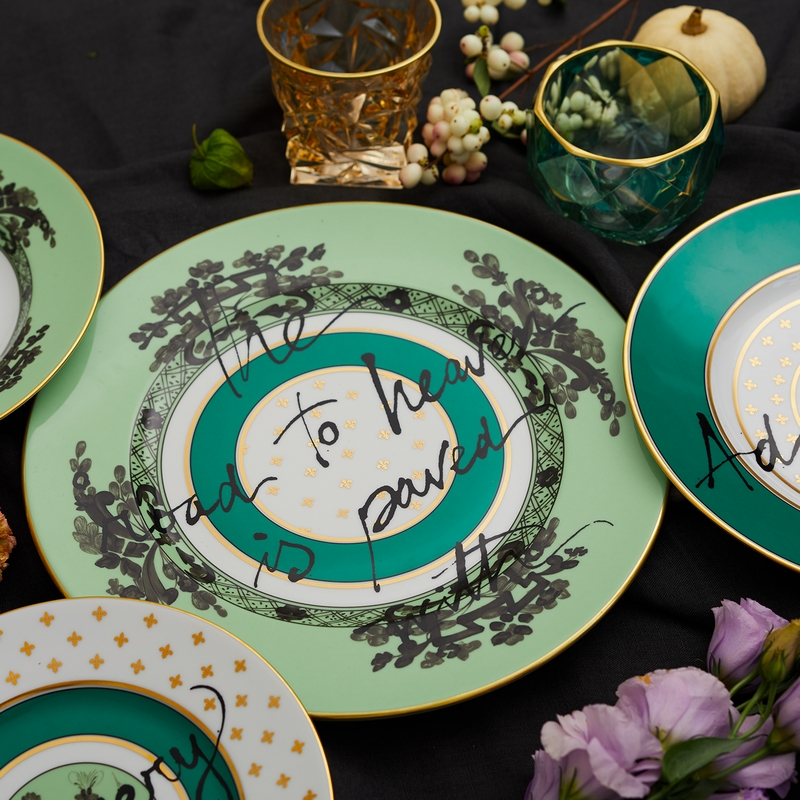 The Road to Heaven is Paved with Excess by Richard Ginori x Artemest-collection-green plates-