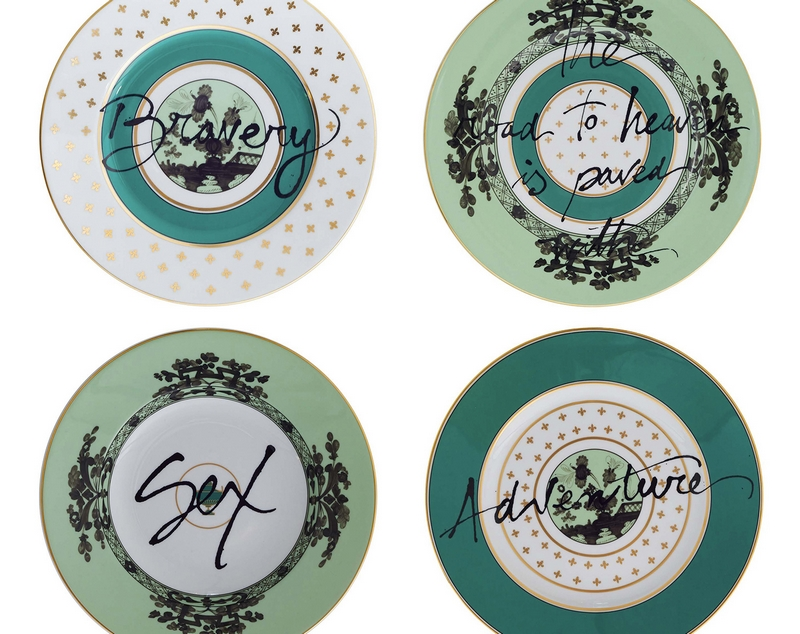 The Road to Heaven is Paved with Excess by Richard Ginori x Artemest-collection-green plates