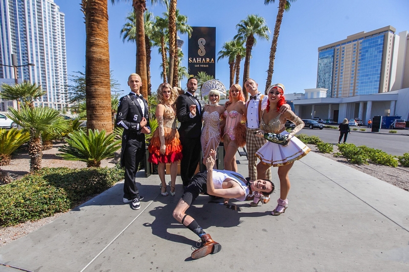 The cast of BLANC de BLANC toasts the all-new SAHARA Las Vegas celebrating the resort-casino's official transformation and iconic brand return