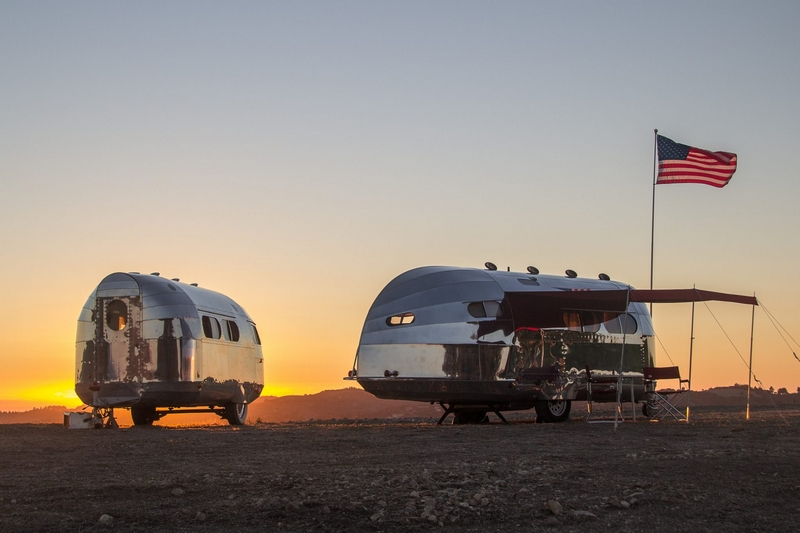 The ccustomized Bowlus Road Chief luxury trailer inspired by racing yachts