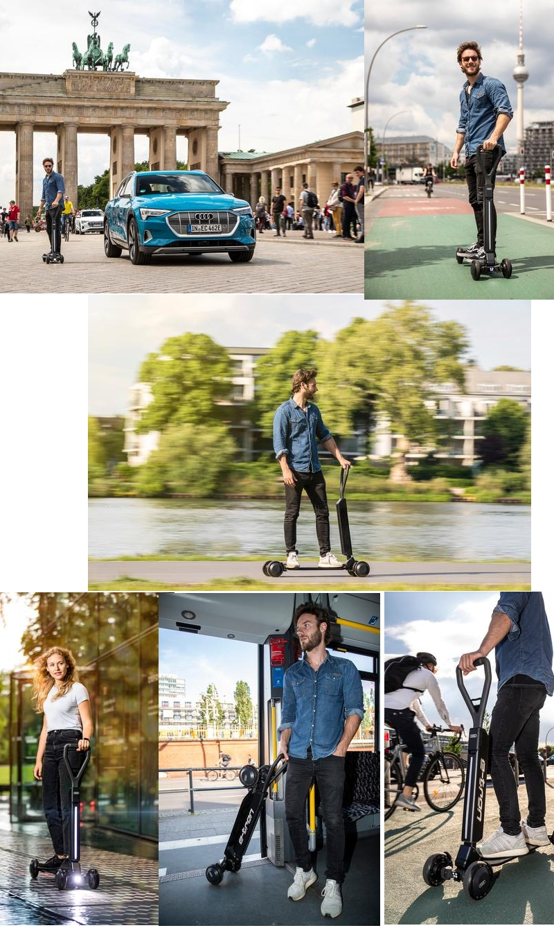 The e-tron Scooter appeals to sporty riders who are on the move in cities, sustainably and multi-modally-
