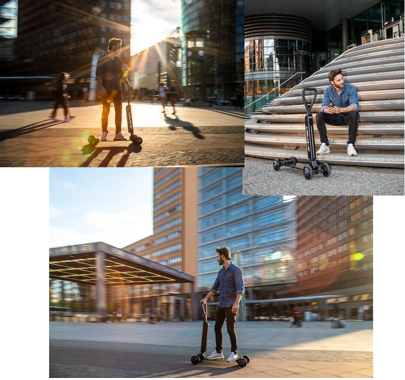 The e-tron Scooter appeals to sporty riders who are on the move in cities, sustainably and multi-modally