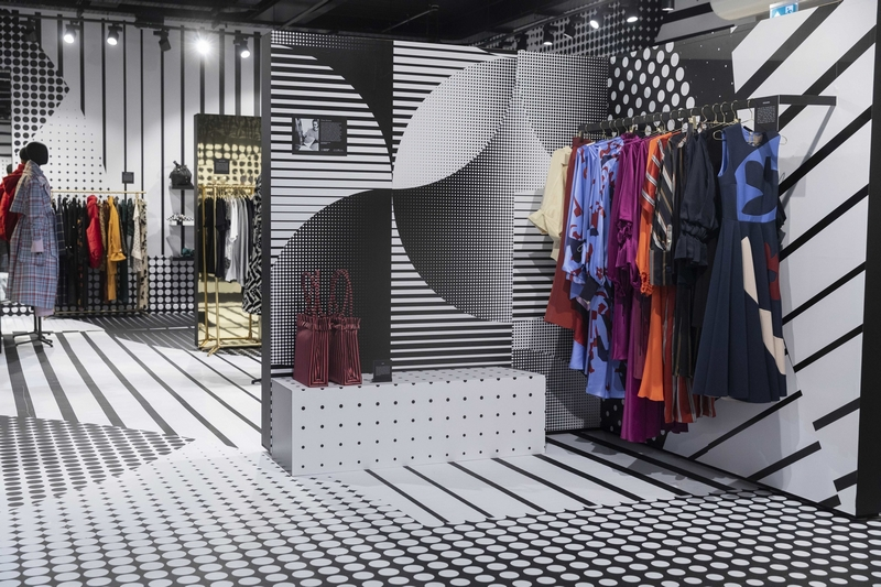 The interior of the BFC pop-up, designed by Diane Bresson, graphic designer graduate from Central Saint Martins, London