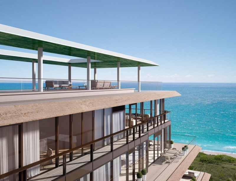 The penthouse at Arte offers sweeping views of the Atlantic Ocean, as well as stunning sunsets over the Biscayne Bay