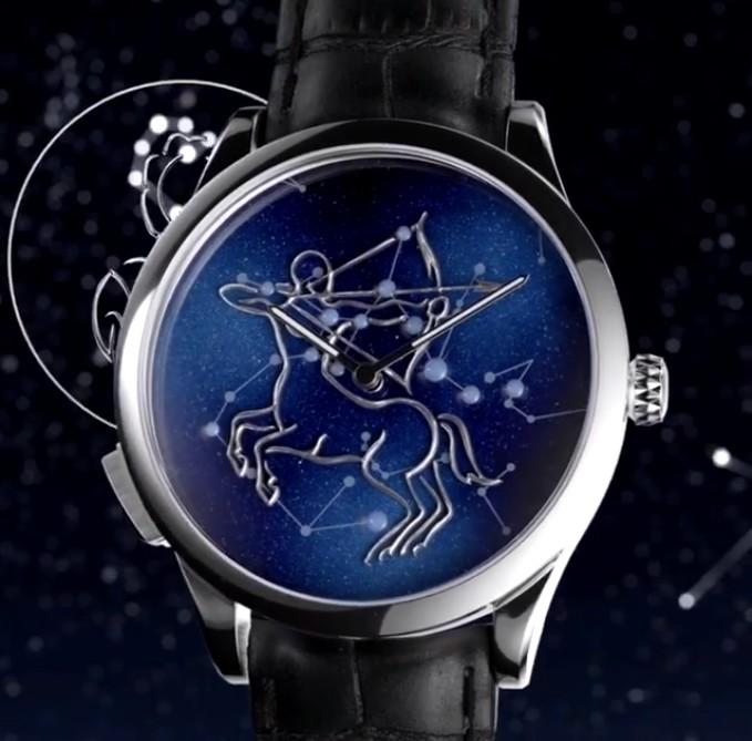 The self-winding mechanical movement of the Midnight Zociac Lumineux watch illuminates the twelve signs of the Western Zodiac