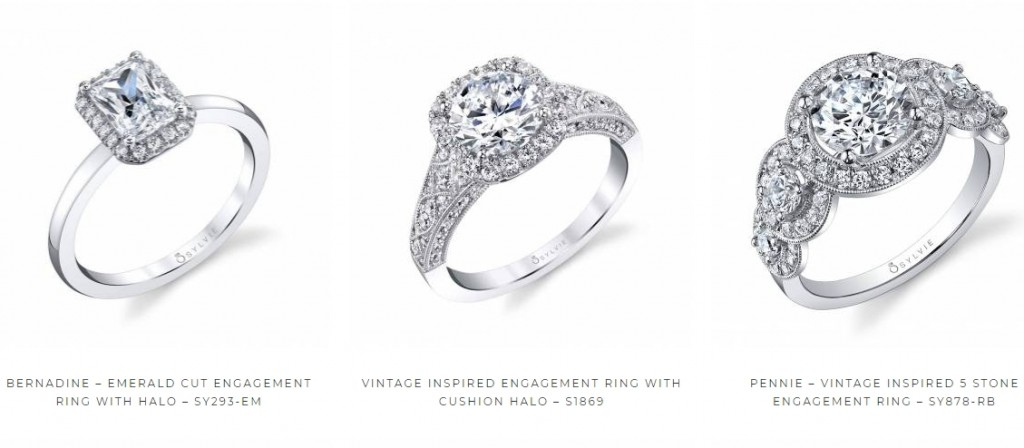 They are called halo rings because of the halo of smaller gems surrounding the center diamonds