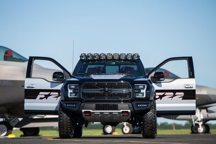 This one-of-a-kind F-150 Raptor is inspired by the F-22 fighter jet-2017-doors