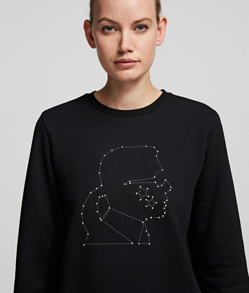 This premium brushed cotton sweatshirt's iconic Karl Kameo silhouette is embellished with a shimmering constellation effect