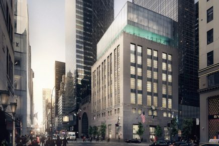 A Contemporary Glass Addition To Grace Tiffany & Co. Classic Fifth Avenue Flagship