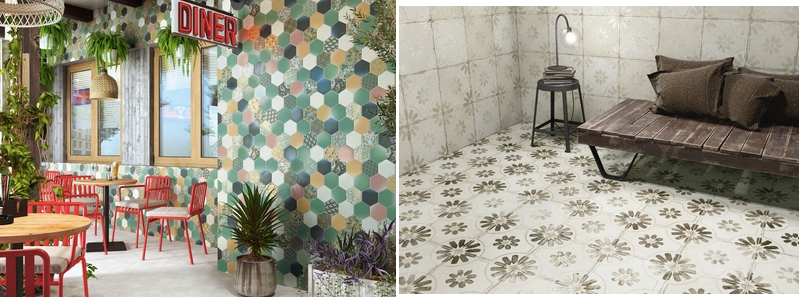 Tile of Spain Large Scale Patterns - Realonda Hex Nouveau and Peronda FS Blume
