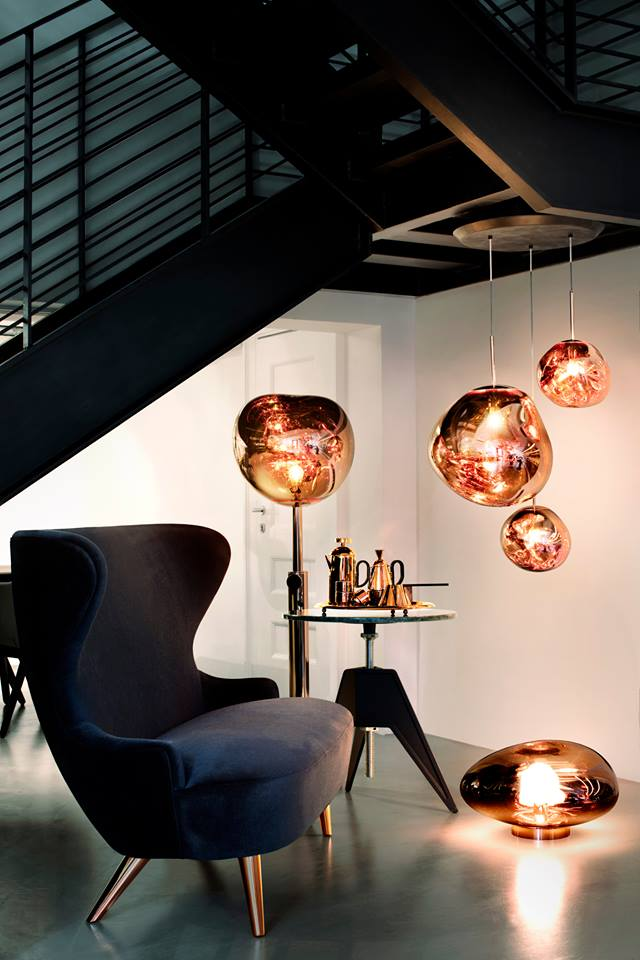 Tom Dixon Mirco WINGBACK and MELT copper lights in a small space under the stairs in our Hong Kong Shop