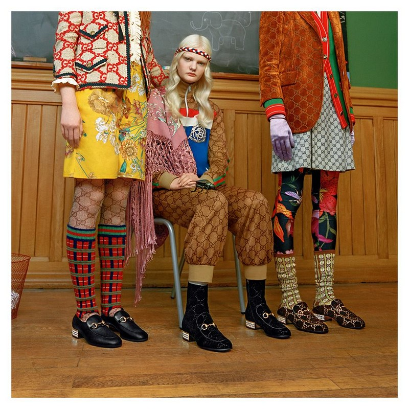 Tweed, the GG motif and floral prints define new layering from Gucci Pre-Fall 2018 by Alessandro Michele.
