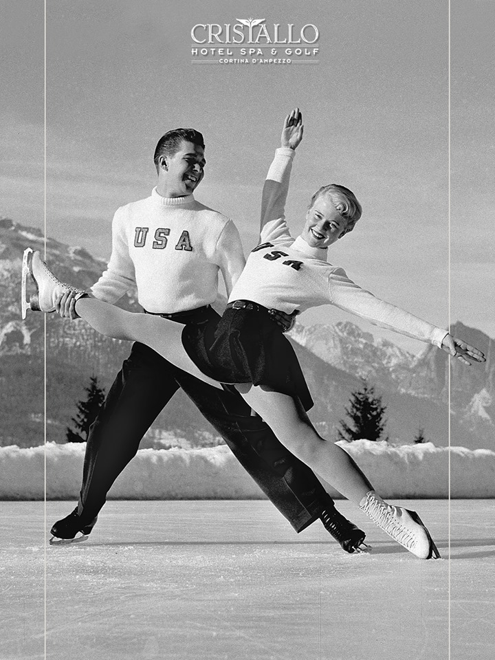 US pair skaters during 1956 Winter Olympics in Cortina