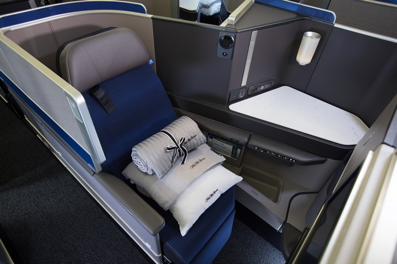 United Polaris business class seat onboard one of the newly reconfigured 767-300ER aircraft
