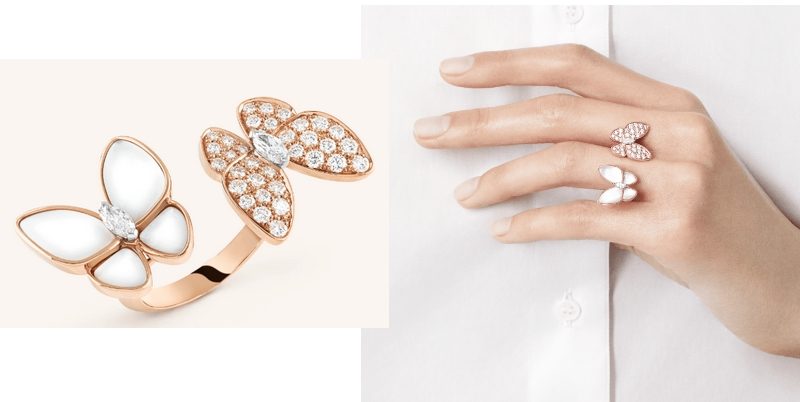 Van Cleef & Arpels Two Butterfly Between the Finger ring in Pink gold, Mother-of-pearl, Diamond