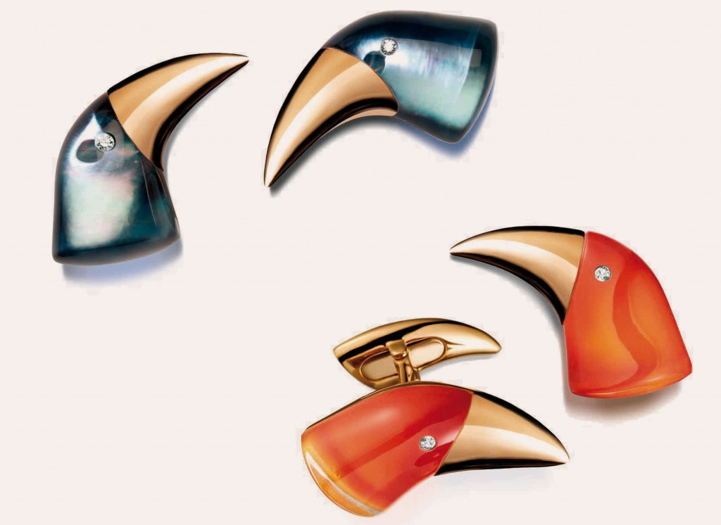 Vhernier Cufflinks in rose gold, diamonds, black jade and rock crystal