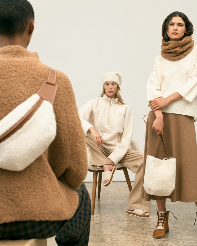 Vince camel-colored garments intermixed with sherpa and fuzzy boucle sweaters for texture and warmth