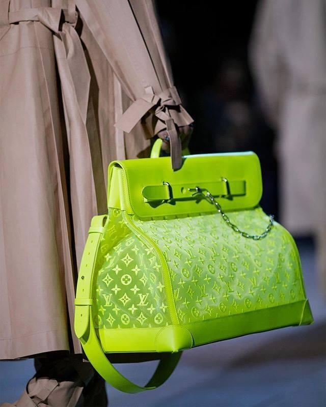 Virgil Abloh's Louis Vuitton Fall-Winter 2019 Show - neon interpretation of the classic LV Steamer Bag