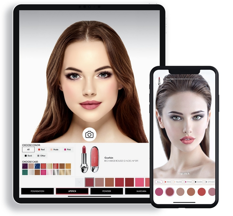 Virtual try-on of makeup products by Guerlain xVoir