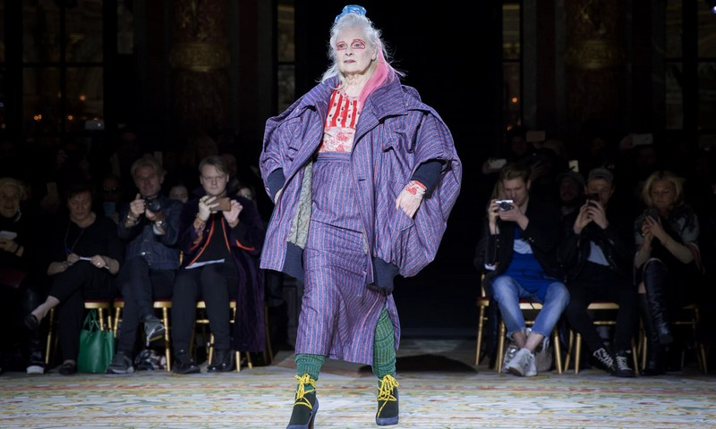 Vivienne Westwood Fall Winter 2017-Designer makes catwalk debut modelling two looks from new collection designed by her husband, Andreas Kronthaler