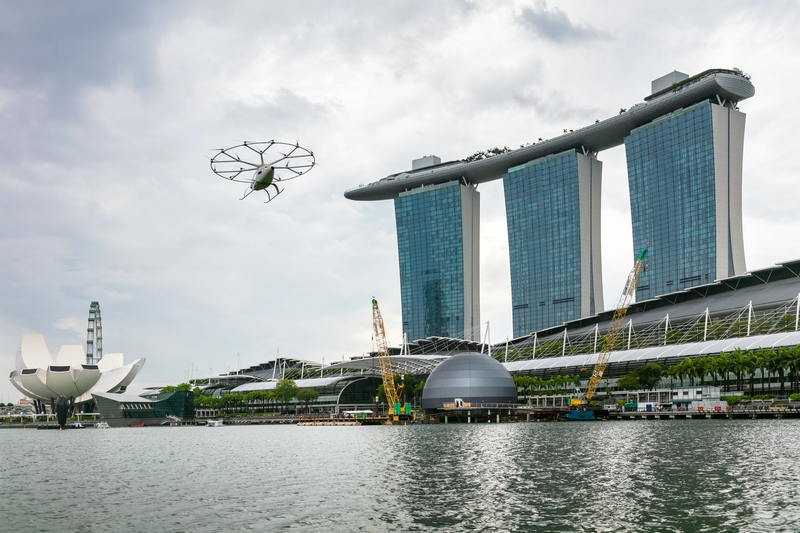 Volocopter air taxi flies over Singapore's Marina Bay