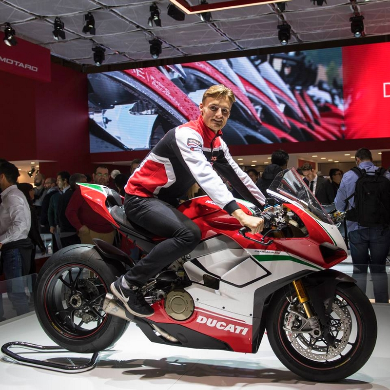 WSBK riders Chaz Davies and Marco Melandri - Ducati guests at EICMA 2017-