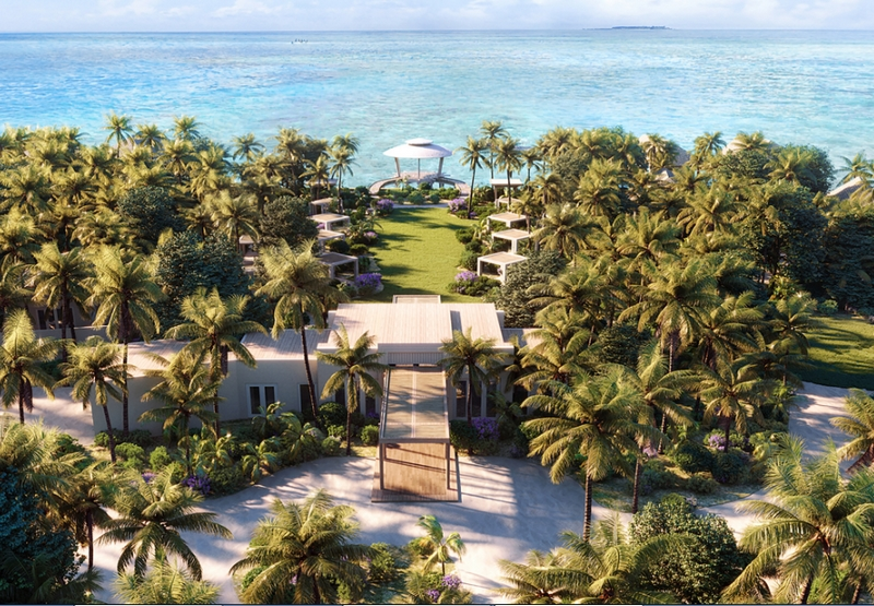Waldorf Astoria Maldives Ithaafushi Spa Aerial View