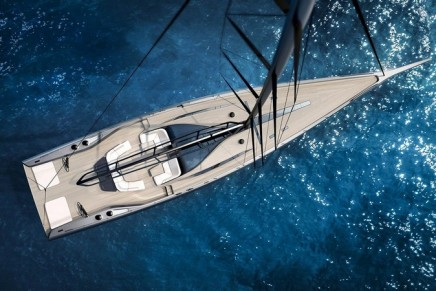 A sneak peak at Wally's 101-foot sailing yacht, the first since becoming part of the Ferretti Group