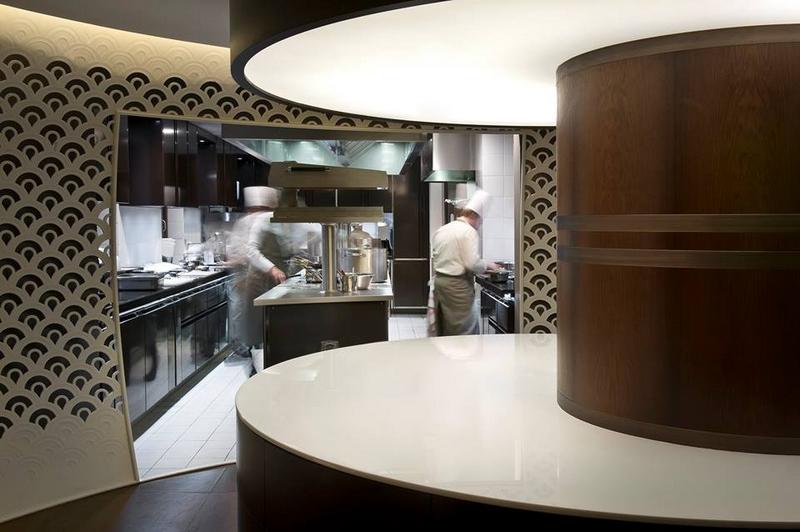 Yannick Alleno 1947 restaurant in Courchevel awarded three stars in 2017 MICHELIN guide France- the kitchen