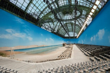 Karl Lagerfeld makes waves with catwalk beach at Chanel show
