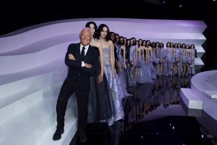Armani Privé: lilac blooms on Giorgio's couture catwalk