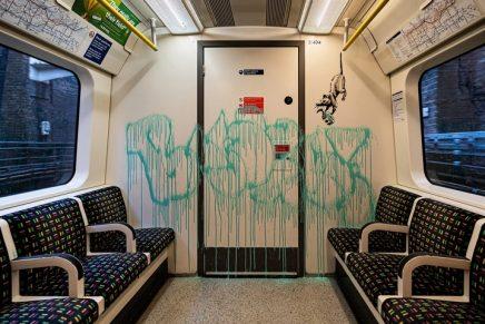 Banksy creates mask-themed work on London Underground
