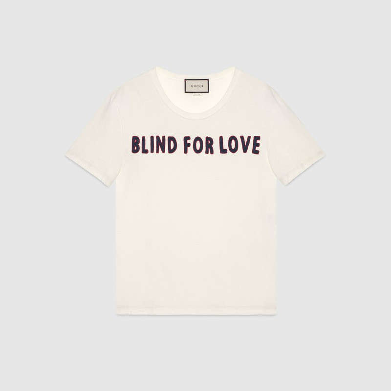 blind for love gucci slogan t-shirt-