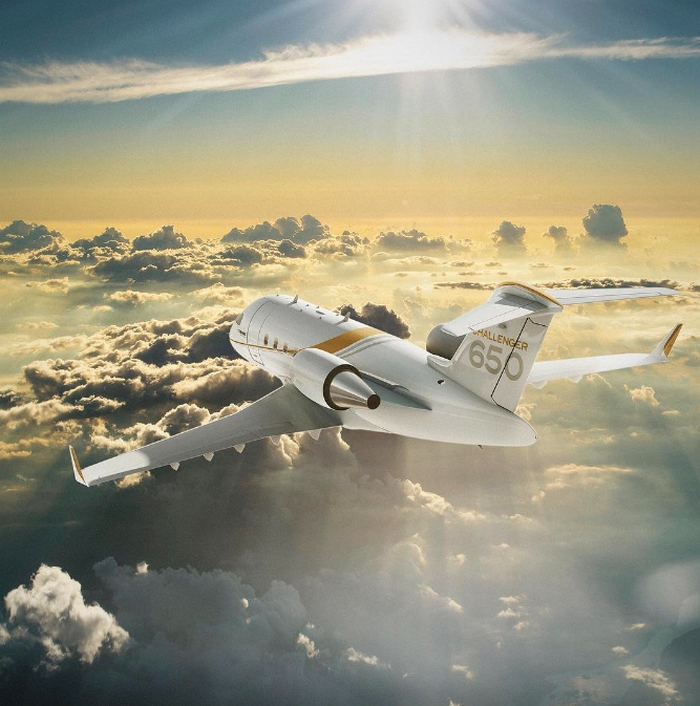 bombardier jets in the beautiful sky