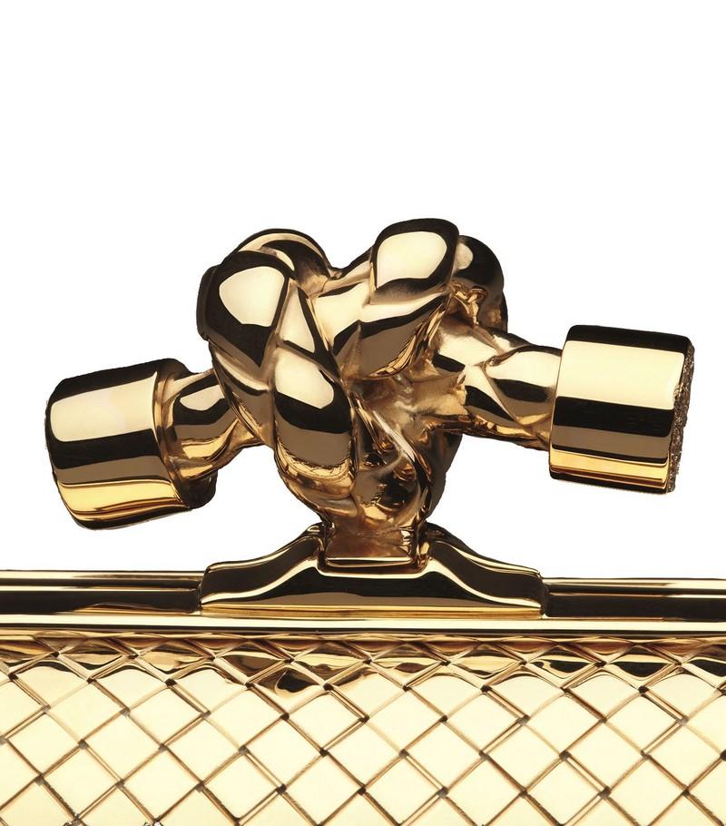 bottega venetta Yellow Gold and Diamond Knot Clutch