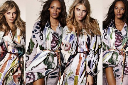 Cara and Malaika in Hand-Painted Runway – The Burberry Autumn Winter 2014 campaign