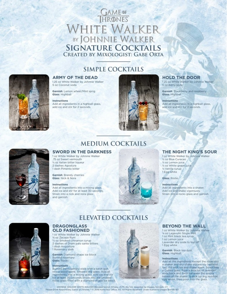 game of thrones whisky white walker-2018-specialty cocktails