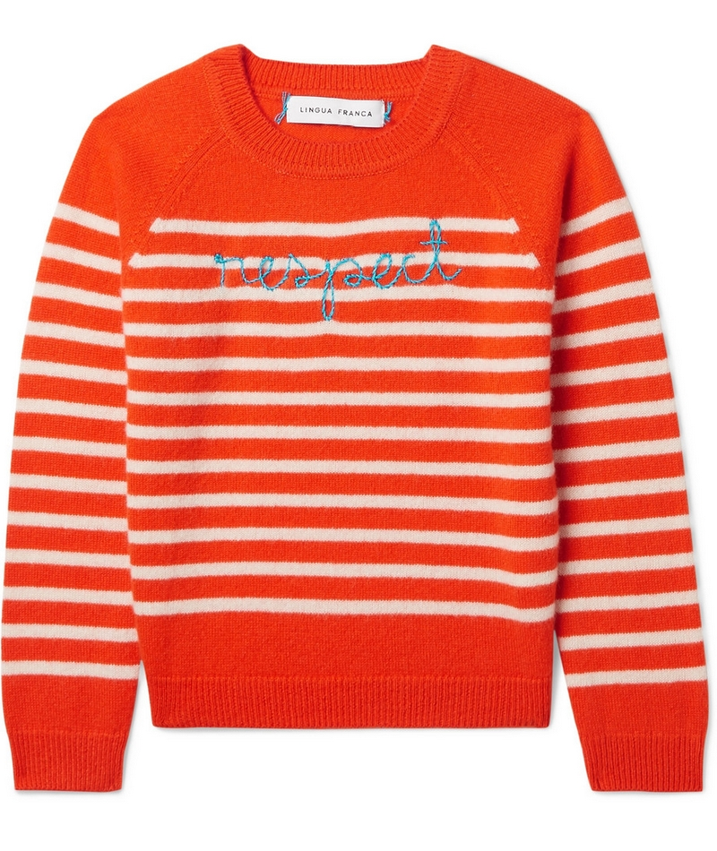 lingua franca Respect embroidered striped cashmere sweater