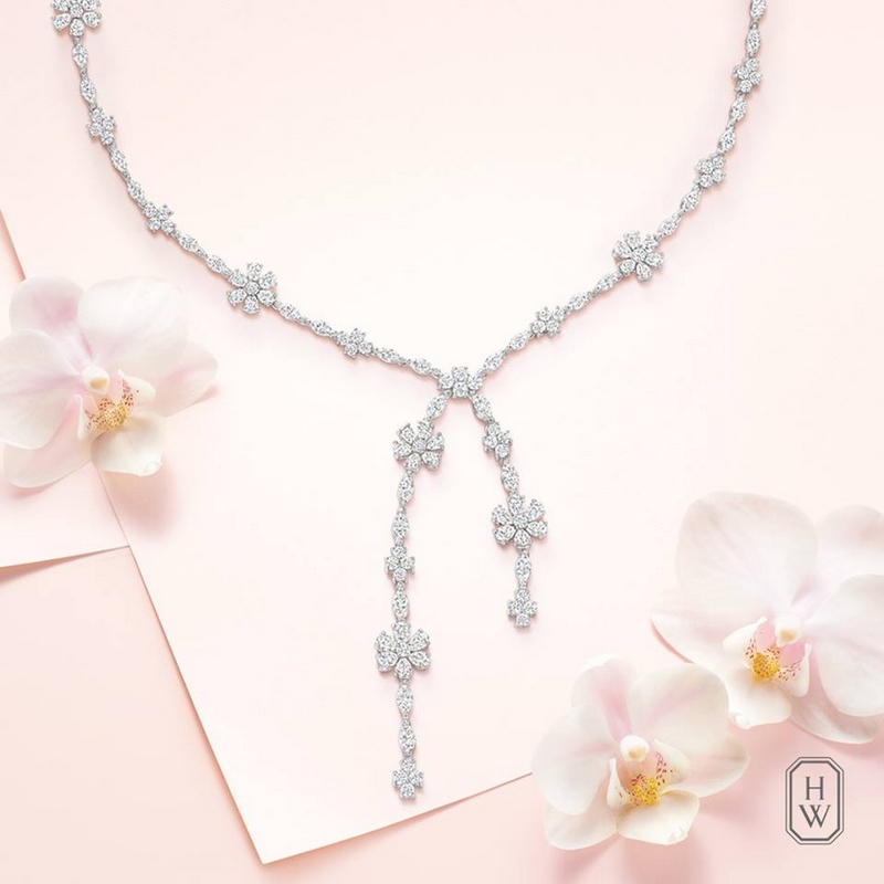 Forget-Me-Not Lariat Diamond Necklace