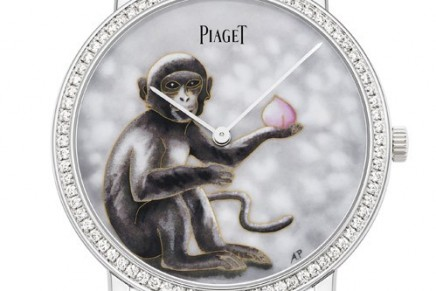 The playful monkey takes centre stage on the dial of the Piaget Altiplano Cloisonné Enamel watch
