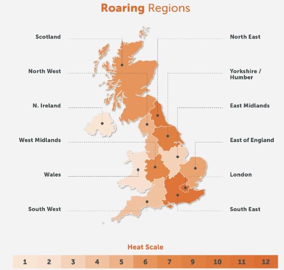 roaring regions UK