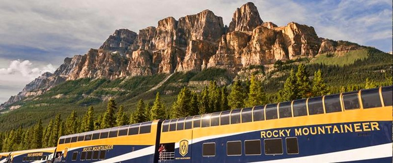 rocky mountaineer train - the train passing by Castle Mountain