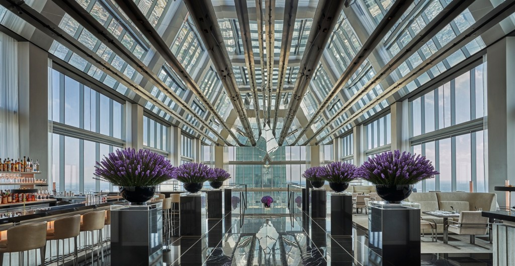 sky-lobby on level 60 of Four Seasons Hotel Philadelphia, the tallest situated hotel in North America