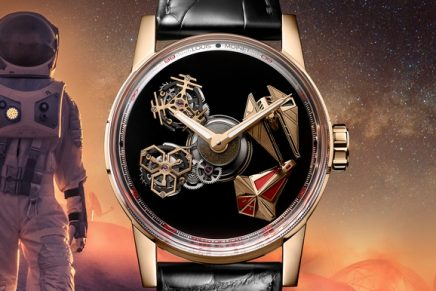 Two spaceships battle it out beneath Louis Moinet Space Revolution sapphire crystal dome