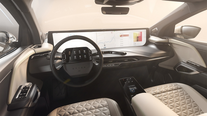 the futuristic and premium aesthetic of the BYTON M-Byte's high-tech digital cockpit