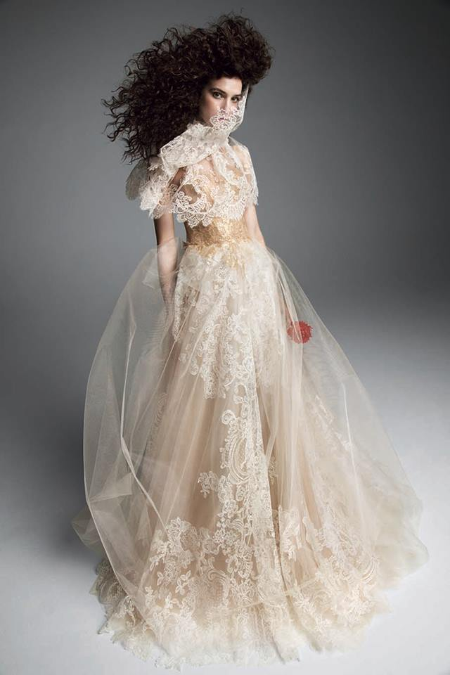 vera wang Nude and light ivory tulle A-line gown