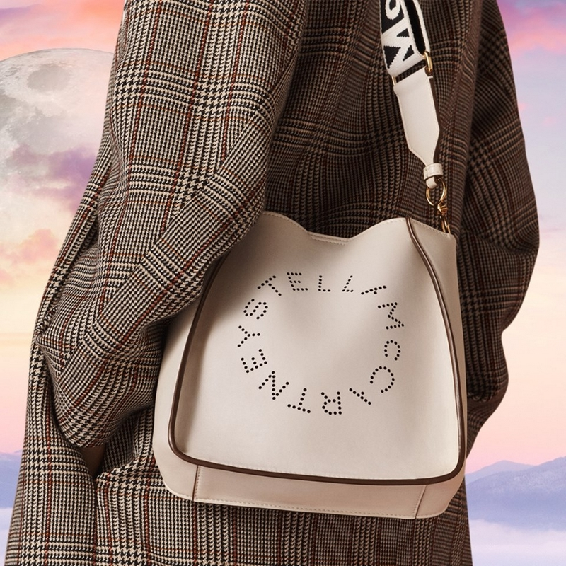 white Alter-Nappa logo handbag and checked coat from the new Autumn 2019 collection
